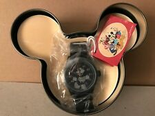 Disney by Ingersoll Mens Classic Mickey Mouse Black Nylon Strap Watch NEW