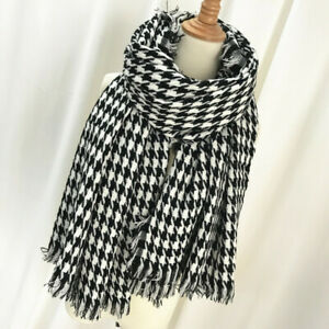 Women Black and White Dogtooth Check Scarf Wrap 140 x 140cm
