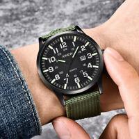 Men Boy Round Dial Nylon Strap Band Military Army Date Quartz Wrist Watch Gift