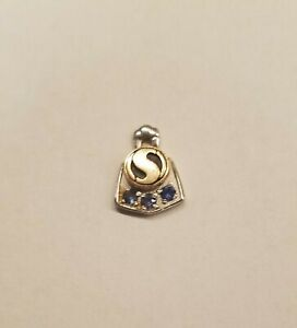 Vintage S Charm CTO 10k Gold w/Topaz White and Yellow gold