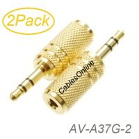 2-Pack 3.5mm Stereo TRS Male Plug to 3.5mm Mono TS Female Jack Audio Adapter