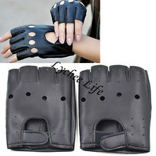 Leather Gloves Half Finger Fingerless Riding Racing Cycling Driving Sports Glove