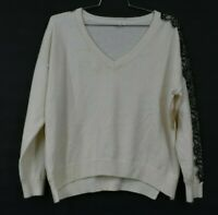 14th & Union Womens Ivory Pristine Lace Trim V-Neck Pullover Sweater Knit XL
