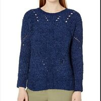 Nine West NWT Women's Sz L Monica Blue Cozy Chenille Open Knit Pullover Sweater