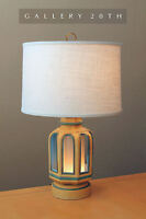 RARE! MID CENTURY MODERN 'LIGHT HOUSE' TABLE LAMP! VTG BLUE 50'S 60S RETRO LIGHT