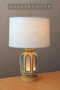 RARE! MID CENTURY MODERN 'LIGHT HOUSE' TABLE LAMP! VTG BLUE 50'S 60S RETRO LIGHT