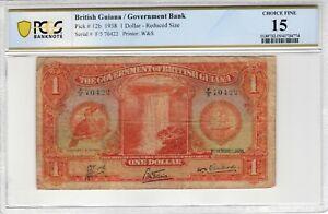 British Guiana 1938 1 Dollar PCGS Banknote Certified Choice Fine 15 Pick 12b