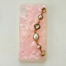 Pink Marble Iphone case with crystal handle