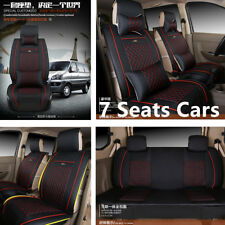 Black w/Red 3 in 1 Rear Row 4Season 7-Seats Car Deluxe PU Leather Car Seat Cover