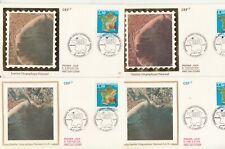 Lot de 4 enveloppes 1er Jour timbrée 1990 IGN institut géographique national
