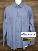 Peter Millar Crown Soft Men's Silk Cotton Blue Long Sleeve Button Down Shirt L