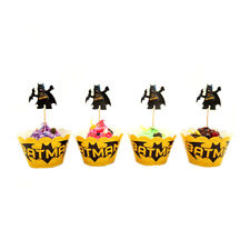 Batman Cupcake Decorating Set of 12pcs Toppers /Picks And 12pcs Wrappers