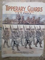GREAT, Antique COLOR MILITARY PATRIOTIC WWI Paull Sheet Music, TIPPERARY GUARDS