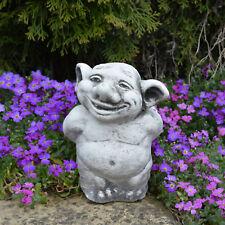 Massive Steinfigur Troll Blumengruß Gnom Wichtel Kobold aus Steinguss frostfest