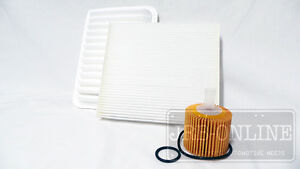 Suits TOYOTA COROLLA ZRE153R~172R~182R 01/09 on OIL AIR CABIN FILTER SERVICE KIT