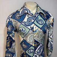 Vtg 60s 70s JAYMAR Disco Shirt Ugly Paisley Print POLYESTER Mens LARGE Tall Long