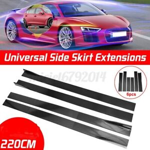 Universal 86.6'' Car Side Skirts Extension Rocker Panel Splitter Protector Lip