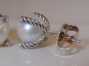 $675 DAVID YURMAN 18K GOLD , SS PEARL DIAMOND EARRINGS