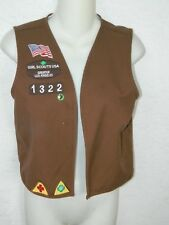 Girl Scouts USA Girls Brown Vest Los Angeles with Patches Pins Sz Medium