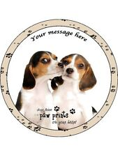 "Personalised Beagle Puppies with Quote 7.5"" Edible Wafer Paper Cake Topper dog"