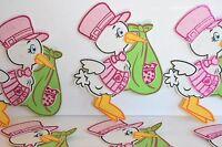 10 X RECUERDOS NINA CIGUENA ROSA STORKS PINK BABY SHOWER DECORATION PARTY FAVORS
