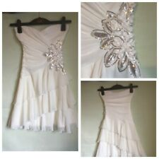 Jane Norman Womens White Floral Party Dress 10/36(A184)
