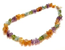 Gorgeous Natural Multi Color Gemstone Bead Necklace - 16""