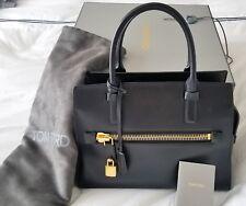 Tom Ford Charlotte Zip Pocket Tote Medium Black Leather 3000