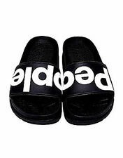 c04287863d02 NEW NIB ANTHROPOLOGIE PEOPLE FOOTWEAR BLACK LOGO LENNON SLIDES SANDALS FREE  SHIP