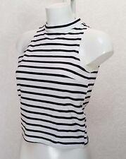 RIVER ISLAND black white Stretch cotton sleeveless Funnel high neck Crop top 10