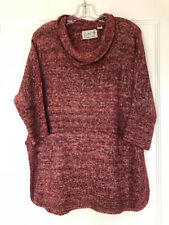 ANTHROPOLOGIE Field Flower Heathered Red Cowl Neck Tunic Sweater~ Small~EUC