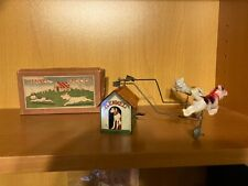 Old Tin & Celluloid Wind-up KENNEL FROLICS Toy w/Cat & Dog & Original Box NR!!!