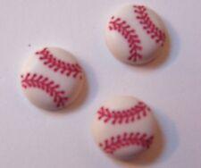 Set of 3 White/ Red Baseball Handmade Decorative Push Pins/Thumbtacks