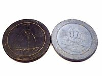 Lot of 2 Antique YACHT SAILING SHIP Clay Poker Casino Chips Blue