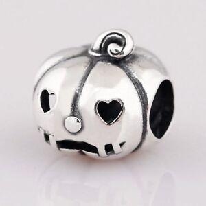 S925 Halloween Pumpkin bead silver charm pendant For European bracelet bangle