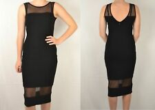 NEW RRP £55 NEXT LADIES UK 8 BLACK MESH PANEL MIDI DRESS