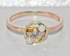 Antique 9ct Or Diamant & Perle Broche / épingle Up-vélo à une Bague