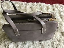 Gorgeous Ladies Grey Leather Radley Bag With Dog Charm And Dust Bag