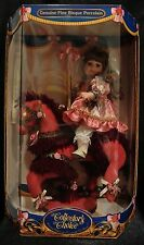 """NWT PORCELAIN DOLL ON HORSE CAROUSEL 19"""" IN BOX DOLL DISPLAY NO SMOKING #31"""