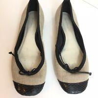 Elie Tahari Women's Black & Beige Canvas Ballet Flats US Size US 7.5