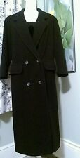 AK Anne Klein Black Double Breasted Long Coat Womans Wool  Size 6