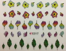 Nail Art 3D Decal Stickers Watercolor Flowers & Leaves Design E317