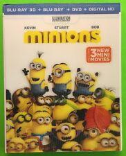 Minions 3D (Blu-ray 3D/Blu-ray/DVD/Digital HD, 2015) New w/ Lenticular Slipcover