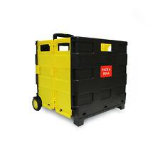Einkaufstrolley Einkaufswagen Trolley Korb mit Rollen klappbar 35kg gelb/schwarz