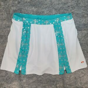 Ellesse Italia Women's Tennis Golf Skirt Skort White Teal Silver Size XL