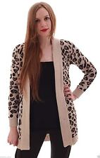 WOMENS LADIES LEOPARD PRINT KNITTED CARDIGAN SWEATER JUMPER TOP PLUS SIZE 8-22