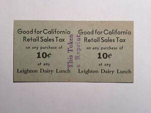 California sales tax token - Leighton Dairy CA-O2