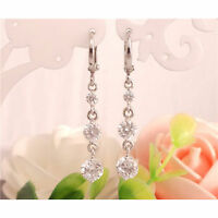 Silver Clear Filled Crystal/Cubic Zirconia/Diamante Long Drop Earrings-Uk Seller