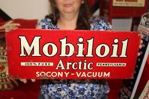 """Vintage 1930's Socony Mobiloil Arctic Motor Oil Mobil Gas Station 18"""" Metal Sign"""