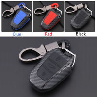 Carbon Fiber Shell+Silicone Cover Remote Key Holder Fob Case For Peugeot 308S A
